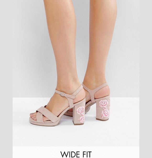 "NEW LOOK WIDE FIT Embroidered Platform Heel - """"Heels by New Look, Faux-suede upper, Embroidered heel,..."