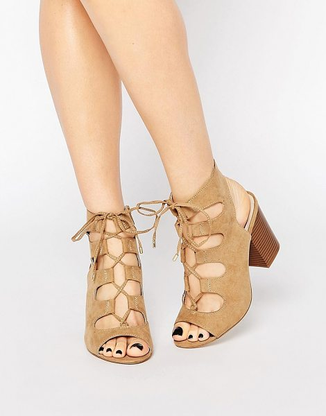 New Look Wide Fit Lace Up Block Heeled Sandal in tan - Heels by New Look, Faux suede upper, Tie-up fastening,...