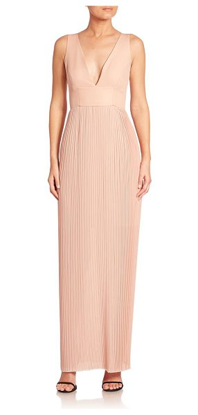 Nicholas accordion pleated gown in blush - A sleeveless staple designed with pleated skirt....