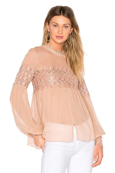 Nicholas Balloon Sleeve Top in blush - 100% silk. Dry clean only. Front button closure. Back...