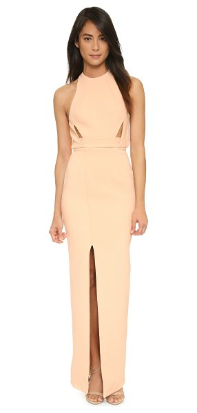 Nicholas bandage band insert gown in nude - Thin front cutouts and an open back lend alluring detail...