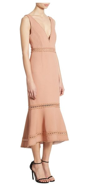 NICHOLAS bandage plunge midi dress - Alluring mermaid cut midi dress with trim adornments....