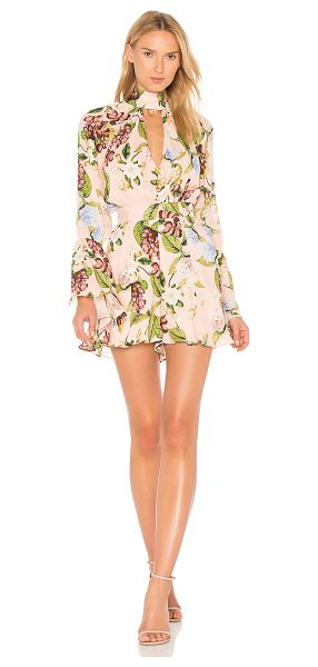 """Nicholas Bell Sleeve Romper in pink - """"Self: 100% silk100% poly. Dry clean only. Front keyhole..."""