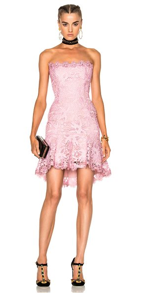 Nicholas Bellflower Strapless Mini Dress in pink - Self & Contrast Fabric: 100% poly - Lining: 95% poly 5%...