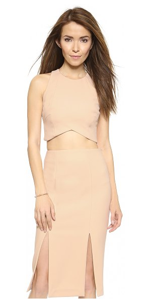Nicholas Bonded panelled crop top in nude