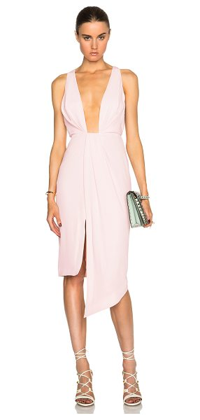 Nicholas Crepe deep v gathered dress in pink - Self: 100% poly - Lining: 95% poly 5% spandex.  Made in...