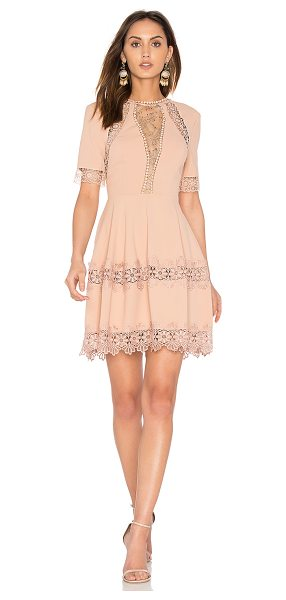Nicholas Crepe Lace Up Back Dress in blush - Self & Lining: 100% polyContrast: 69% nylon 31% rayon....