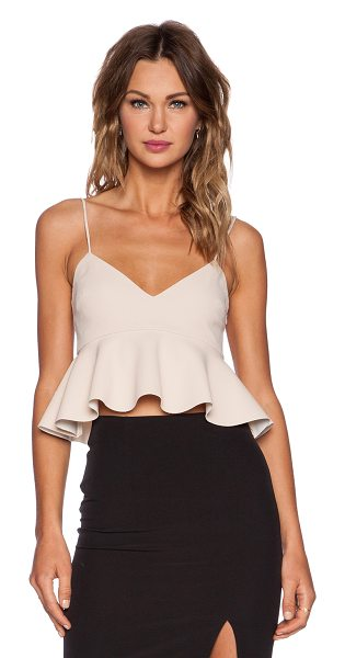 Nicholas Crepe V Neck Flared Crop Top in blush - Self: 100% polyContrast: 72% poly 23% viscose 5%...