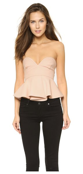 Nicholas Double bonded bustier crop top in shell - This strapless Nicholas crop top has a flared peplum for...