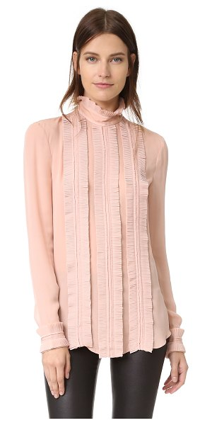 Nicholas fine pleat blouse in blush - Pleated contrast trim brings a romantic look to this...