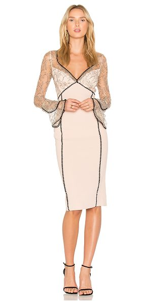 Nicholas French Lace Bell Sleeve Dress in blush - Self & Lining: 100% polyContrast: 69% nylon 31% rayon....