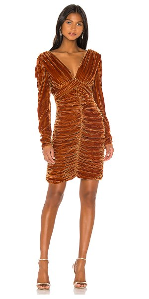 Nicholas gathered party dress in tobacco