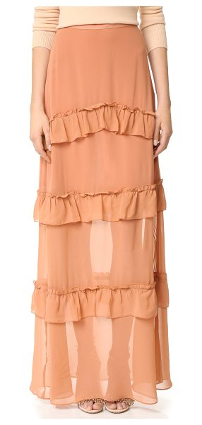 Nicholas georgette tiered skirt in clay - Gathered ruffles add a feminine touch to this graceful...