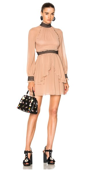 Nicholas High Neck Mini Dress in pink - Self: 100% silk - Lining: 100% poly.  Made in China. ...