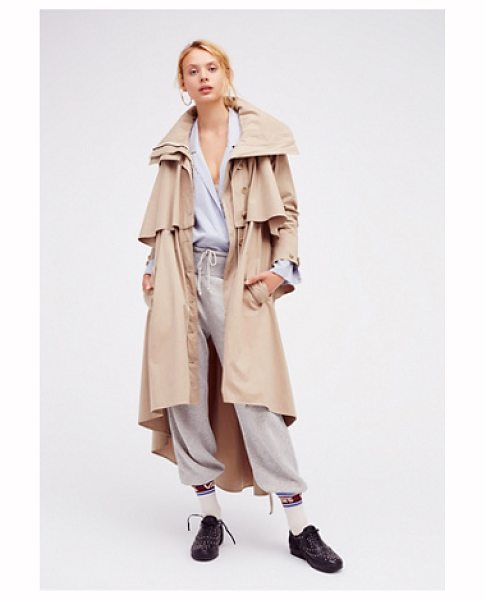 Nicholas K Farley trench in beige - Long sleeve trench coat with an ultra modern feel....