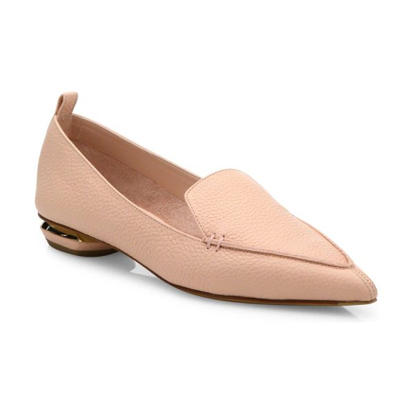 Nicholas Kirkwood beya leather loafers in powder - Rich pebbled leather loafer on metal-accented heel....