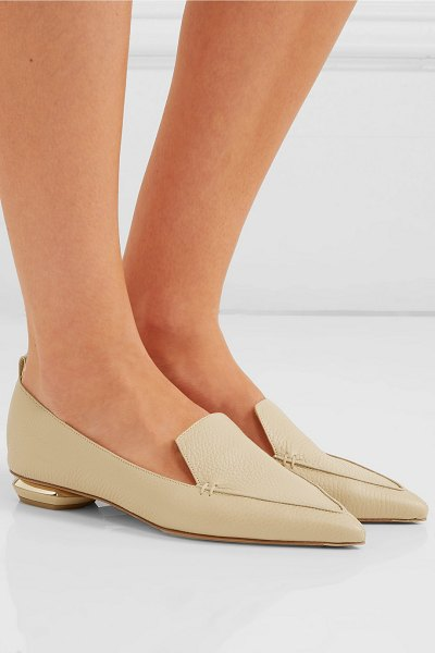 Nicholas Kirkwood beya textured-leather point-toe flats in beige - Nicholas Kirkwood's 'Beya' flats are one of those styles...