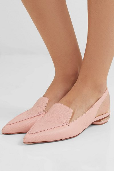 Nicholas Kirkwood beya textured-leather slingback flats in blush