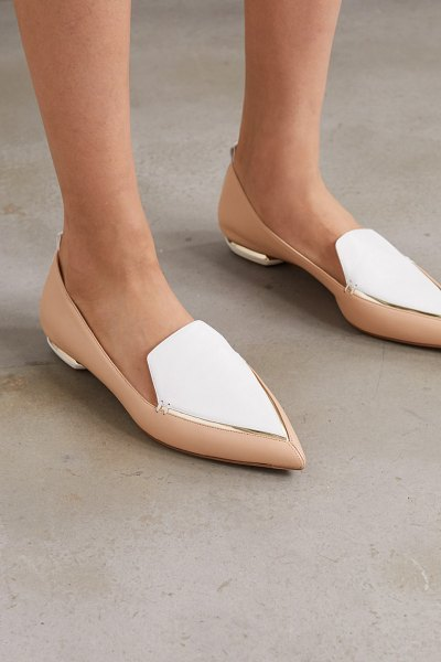 Nicholas Kirkwood beya two-tone leather point-toe flats in neutral