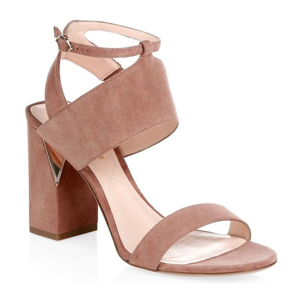 Nicholas Kirkwood eva suede ankle cuff sandals in rosewood - Chic open-toe sandals with block embellished heel and...