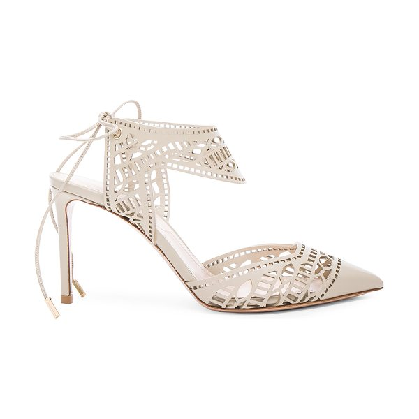 Nicholas Kirkwood Leather leda laceup heels in neutrals - Leather upper and sole.  Made in Italy.  Approx 90mm/...