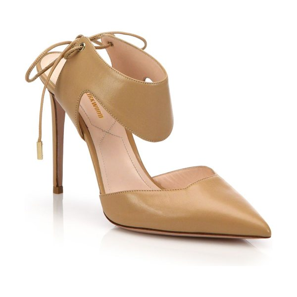 Nicholas Kirkwood leda cutout leather tie-back pumps in tan - Alluring cutouts define leather tie-back pump....