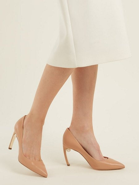 Nicholas Kirkwood Mira pearl-heel leather pumps in nude - Rose beige leather complements the signature faux-pearl...