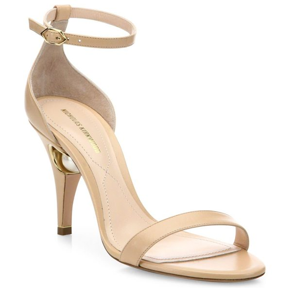 Nicholas Kirkwood penelope pearly leather ankle-strap sandals in nude - EXCLUSIVELY AT SAKS FIFTH AVENUE. Sultry leather...