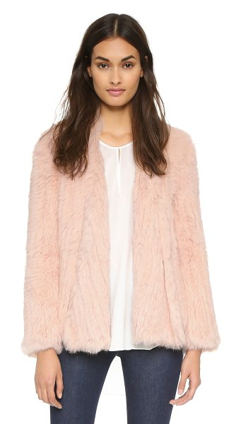Nicholas Knitted fur jacket in blush - A Nicholas jacket made from plush fur. Draped, open...