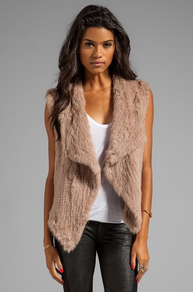 Nicholas Knitted rabbit fur vest in brown - Fur: 100% dyed rabbit furCombo: 100% cotton. Fur Origin:...
