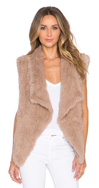 Nicholas Knitted rabbit fur vest in taupe - 100% dyed rabbit fur. Fur origin: China. Professional...