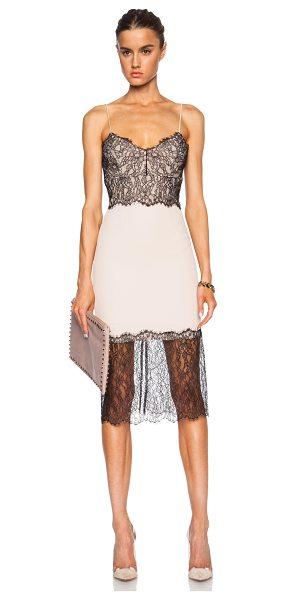 Nicholas Lace trim poly crepe dress in neutrals - Self: 100% poly - Contrast Fabric: 100% nylon - Lining:...