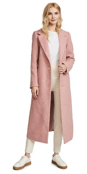 Nicholas long double button coat in pink teddy - Fabric: Brushed wool felt Long profile Collared neck...