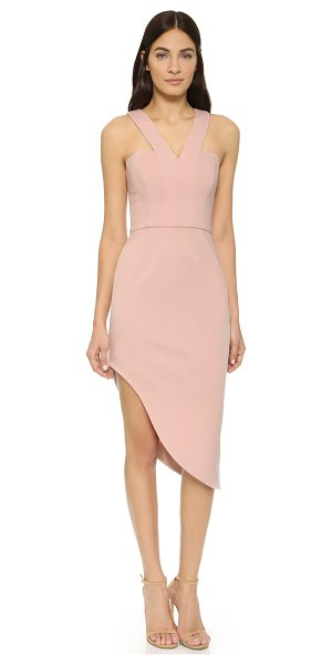 Nicholas N /  ponte side curve strap dress in blush - A sharp seamed Nicholas dress with a dramatic V neckline...