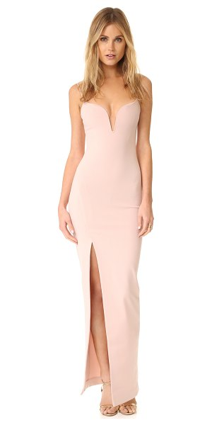 Nicholas n /  v wire gown in nude - An asymmetrical slit adds dramatic, sultry detail to...