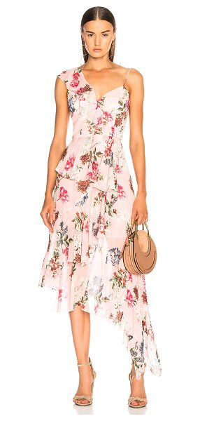 Nicholas One Shoulder Frill Dress in floral,pink - Self: 100% silk - Lining: 100% poly.  Made in China. ...