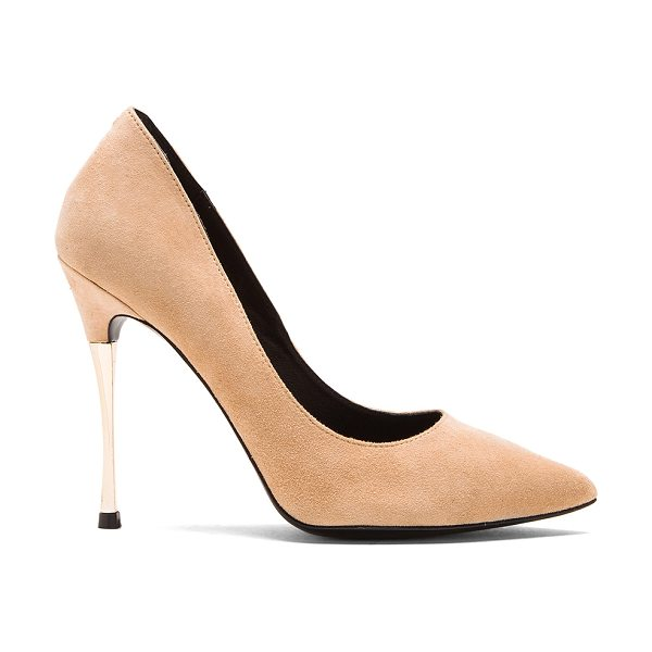 Nicholas Ophelie chrome suede pump in beige - Suede upper with leather sole. Metallic accent on heel....