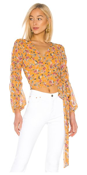 Nicholas pintuck wrap top in honey multi