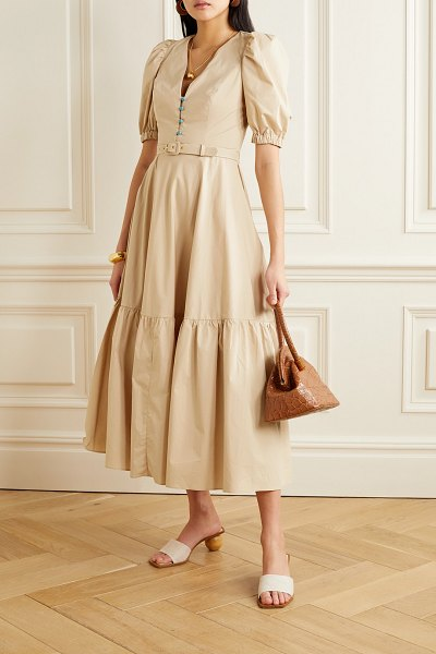 Nicholas rebecca belted cutout cotton-poplin maxi dress in beige