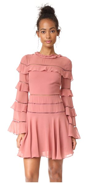 Nicholas ruffle insert mini dress in dusty rose - This flirty crepe Nicholas dress is detailed with...