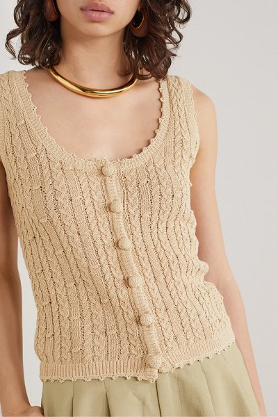Nicholas sheila cropped cable-knit cotton-blend tank in beige