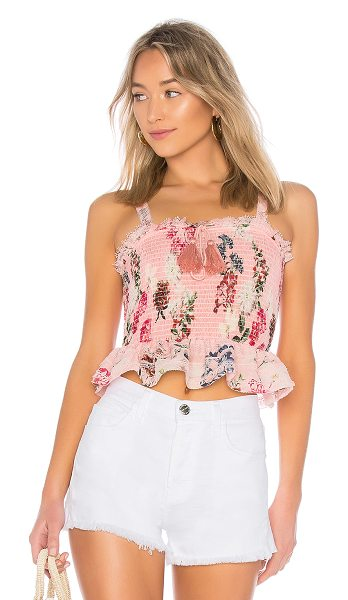 Nicholas Shirred Crop Top in pink - 70% cotton 30% silk. Dry clean only. Drawstring neckline...