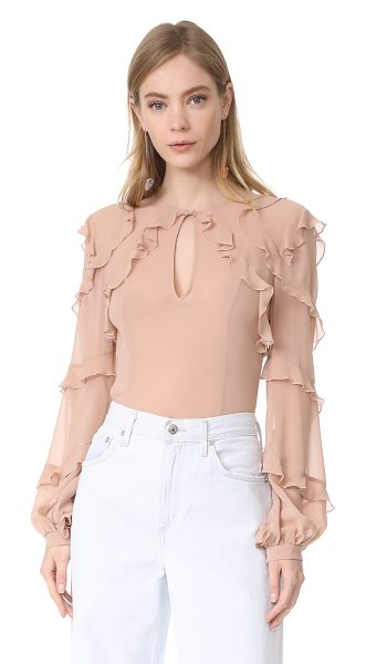 Nicholas silk georgette high neck ruffle blouse in vintage rose - Dainty ruffles accentuate the airy, feminine feel of...