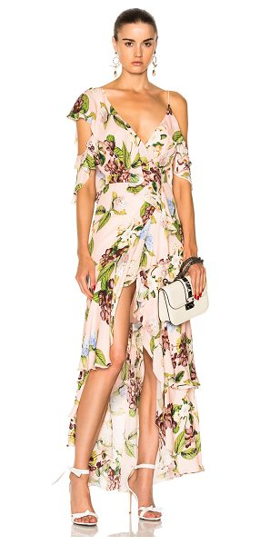 Nicholas Wrap Flounce Maxi Dress in floral,pink - Self: 100% silk - Lining: 100% poly.  Made in China. ...