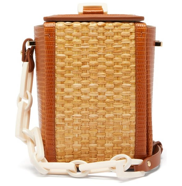Nico Giani cerea lizard-embossed leather and straw bag in tan multi