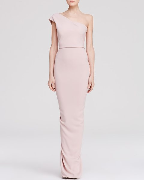 Nicole Bakti Gown - One Shoulder Ruffle Back in blush - Nicole Bakti Gown - One Shoulder Ruffle Back-Women