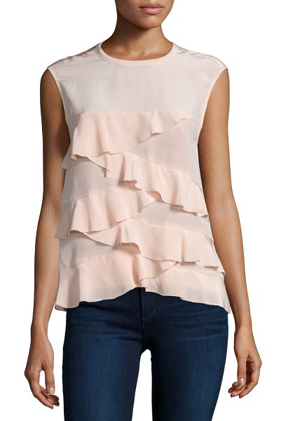 "Nicole Miller Enzyme Ruffle-Tiered Tank in blush - Nicole Miller ""Enzyme"" tank with tiered ruffles. Approx...."