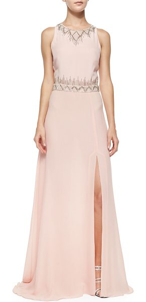 Nicole Miller Sleeveless geo-bead-trim gown in blush - Nicole Miller georgette gown accented with geometric...
