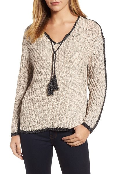 Nic+Zoe diamond beach sweater in sandshell mix - Tassel ties add a boho twist to a cozy V-neck pullover...