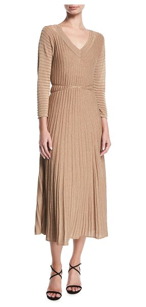 Nic+Zoe Open-Shoulder Shimmer Pleated Midi Dress in gold - NIC+ZOE dress in shimmered, pleated knit. V neckline;...